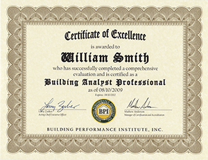 BPI Building Analyst Professional certificate