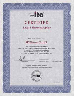 Level one thermographer certificate